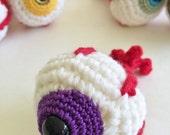 Purple Cateye Eyeball Amigurmi Plush Ornament or Keychain