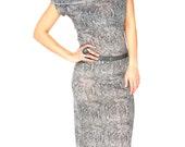 Snake Skin Print Cowl Neck Dress