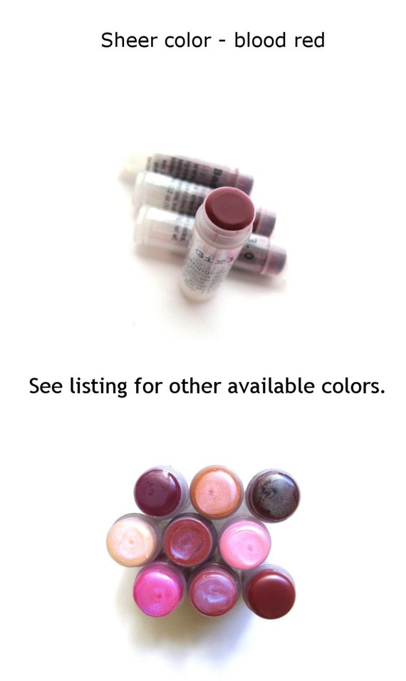 Blood Red Tinted Lip Balm Lip Tint - red lip mineral make up lip tint for her -  VEGAN Lip Gloss-Balm - Bad Girl Version 3