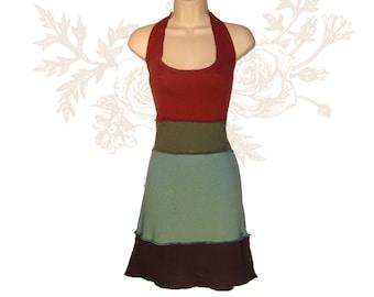 Organic Halter Dress -Organic Cotton and Hemp Sundress -  Handmade and hand dyed to order using Organic cotton and Hemp jersey