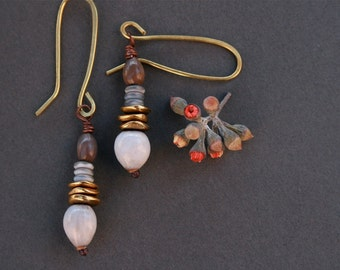 brass earrings with Job's tears seeds - natural jewelry - ethnic style