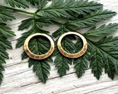 connector rings Antiqued brass hammered 14mm set of 2