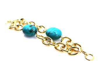 Turquoise Statement Bracelet, Blue Magnesite Bracelet, Turquoise Jewelry, Blue Magnesite Jewelry, Chunky Gold Jewelry, Gold Chain Jewelry
