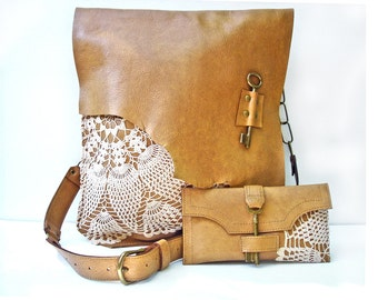 XL Leather Boho Messenger Bag & Credit Card Wallet Set with Crochet Lace and Antique Key - MADE to ORDER
