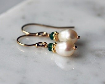 Petite Pearl Earrings, Small Pearl Earrings, June Birthstone, Bridal Jewelry, Emerald Gem, White Freshwater, 14k Gold Filled