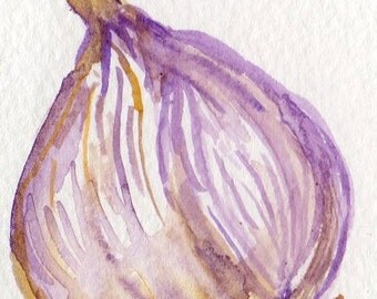 ACEO Garlic watercolor painting original, Bulb,  garlic art, garlic bulb watercolors painting, miniature art, vegetable watercolor