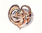 Chipmunk Art Squirrel Art Original watercolor painting of Cuddling woodland animals Heart love valentine cabin decor cottage decor
