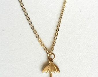 Tiny Umbrella Layering Necklace