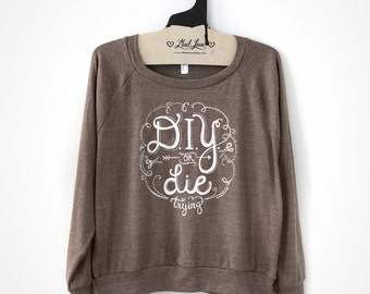 SALE Large - Faded Print Brown Tri-Blend Raglan Pullover with DIY or DIE Print