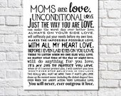 Mom Gift Moms Are Love Poem Art Print Birthday Gift For Mother Birthday Gift For Mom Wall Art Wedding Gift For Mom Motherhood Quote Poster