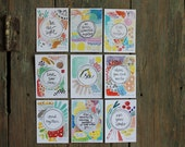 Wisdom set no. 17 - daily wisdom cards - set of 9 - ATC sized