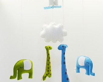 Free US Ship Elephant Giraffe Custom Musical Baby Mobile, Safari Zoo Decor, Jungle Theme Room, Baby Nursery Mobile, Modern Kids Room Decor