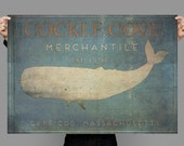 Cockle Cove Merchantile Whale Sign, Cape Cod,  Hand drawn, Typography, Original Painting, Digital Art Download Print or Poster