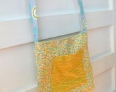 Girls Tote Bag, Church Bag, Purse - Small Floral yellow, mint, coral