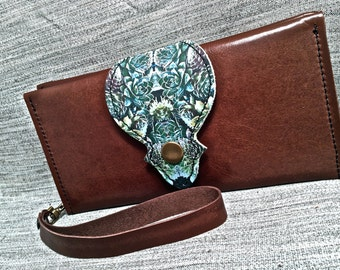 Leather Long Wallet, Phone Case with Wrist Strap & Zipper Pocket, Brown / Succulents Digital Photo Print on 100% Genuine Leather