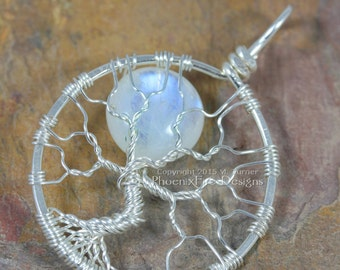 Celestial Rainbow Moonstone Wire Tree of Life Pendant Full Moon Natural Gemstone Artisan Silver Wire Wrapped Lunar Jewelry Gift for Her