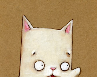 """Happy Cat Keeps Waving Hours After You Leave 5"""" x 7"""" Print"""