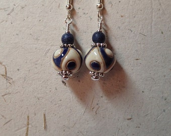 Ceramic Bead Earrings Blue and White using Golem Bulgarian Beads on silver