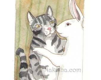 Original Watercolor Rabbit and Cat Painting - Kiss the Cat - ACEO