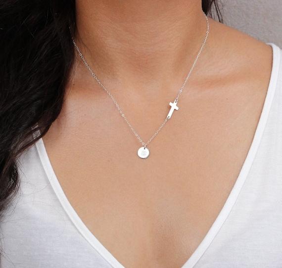 Sideways Diamond Initial Necklace