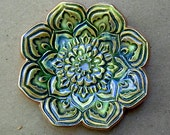 Moss Green Ceramic Lotus Ring holder Dish 3 1/4 inches round