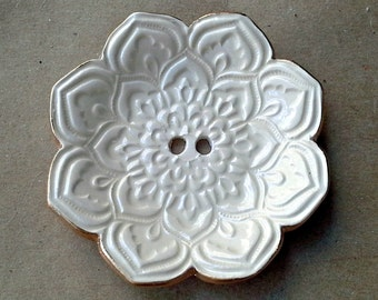 OFF WHITE Lotus Ceramic Ring  Bearer Bowl Alternative