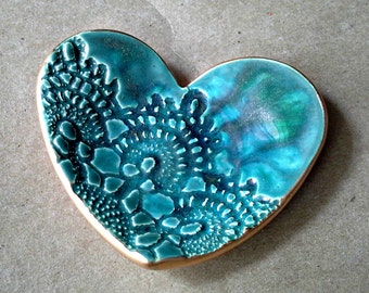 Ceramic Heart Ring Holder Dish malachite green edged in gold
