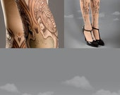 Closed Toe nude color one size Birds and Ladies full length printed tights, pantyhose, nylons, tattoo socks
