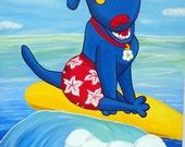 Surfs Up - 16x20 -blue dog animal art -Original painting - Schnook