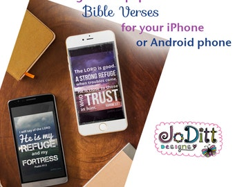 Set of 2 digital iphone wallpapers with Bible verse lockscreens for your iphone or Android smartphone
