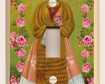 Frida Kahlo with Red Rose Border- Green, White and Gold - Folk Art - Single Light Switch Plate