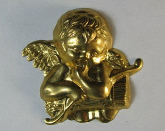 2 Brass Angesl / Cherubs with Bow and Arrows Stampings / Findings