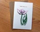 Lily linocut letterpress botanical blank card