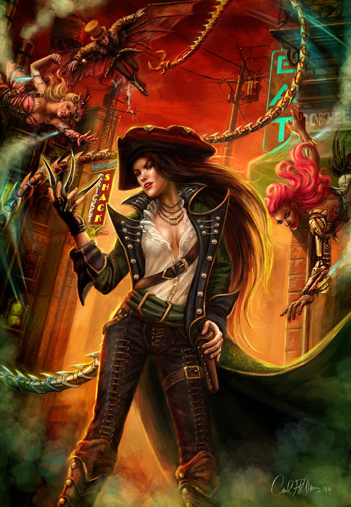 Steampunk Fantasy Art Hero character urban pirate rouge