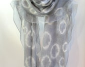 Felt Scarf-Shawl Shibori Dyed sheer cashmere-soft merino wrap on painted silk