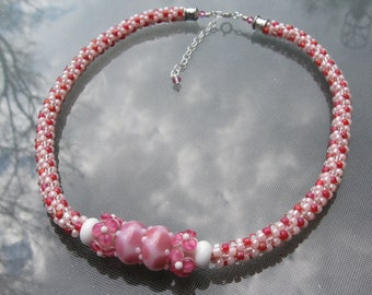 Pink Posies Kumihimo Necklace