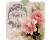 Paris Gift Tags , Rose Tags , Pink and Green , Romantic Tags , All Occasion Tags , French Tags