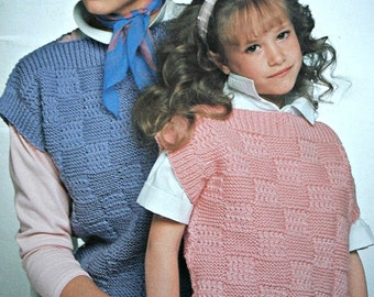 Sweater Knitting Patterns Vest Family Knits Men Women Children Worsted Weight Yarn Beehive Patons 487 Vintage Paper Original NOT a PDF