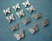 BUTTERFLY BEADS in Silver Pewter Assortment Lot of 12 in 2 styles