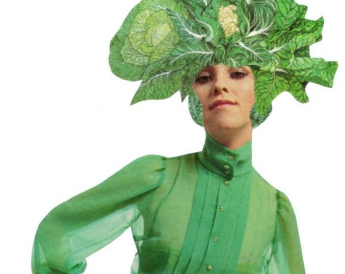 Green Vegetable Veggie Art Collage, Vegetable Artwork, Vegan Gift