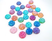 12mm Sparkly Rhinestone Cabochons,  Multicolor Round Resin Cabs