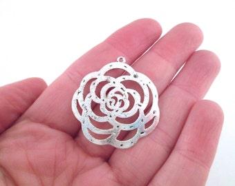 Silver rose connectors pendants, pick your amount, D33