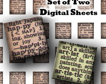 INSTANT DOWNLOAD Two Digital Images Sheets Vintage Dictionary Words Meanings One Inch Squares for Tile Pendants Magnets (GS26, GS28)