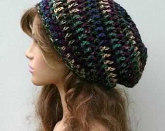 Crochet hat, Soft Purple Blue Green hat, smaller Dread Tam beanie, Slouchy Beanie Hippie hat, Snood Hat