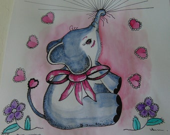 Original, Elephant Painting, Elephant Watercolor, Adorable Elephant, Elephant Thunbprint, Baby Elephant, Pink N Gray Elephant, Baby Shower