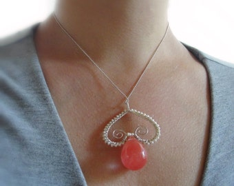 Sterling Silver Cherry Quartz Necklace with Pearls, wire wrapped, Pink Quartz