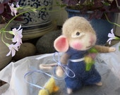 Felted Mouse and Duck Dolls; Needle Felted Animals/ Madeline and Cricket, Collectible Heirloom