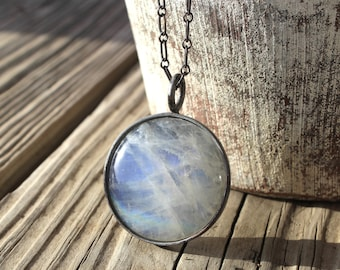 big full moon blue flash moonstone and oxidized sterling silver pendant necklace super moon