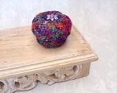 Rainbow Colored Box - Handmade Silk Sari Tapestry Keepsake Basket with Purple Flower Embellished Lid - Unique HouseWarming Decor Gift STB014