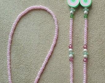 PINK GERBER DAISY Flower Lover ! Eyeglass Chain New